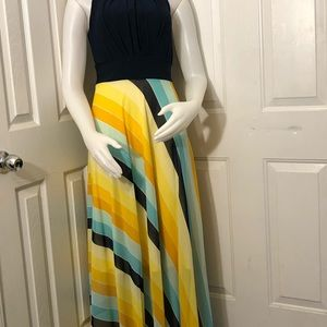 Sleeveless brilliant colorful long dress